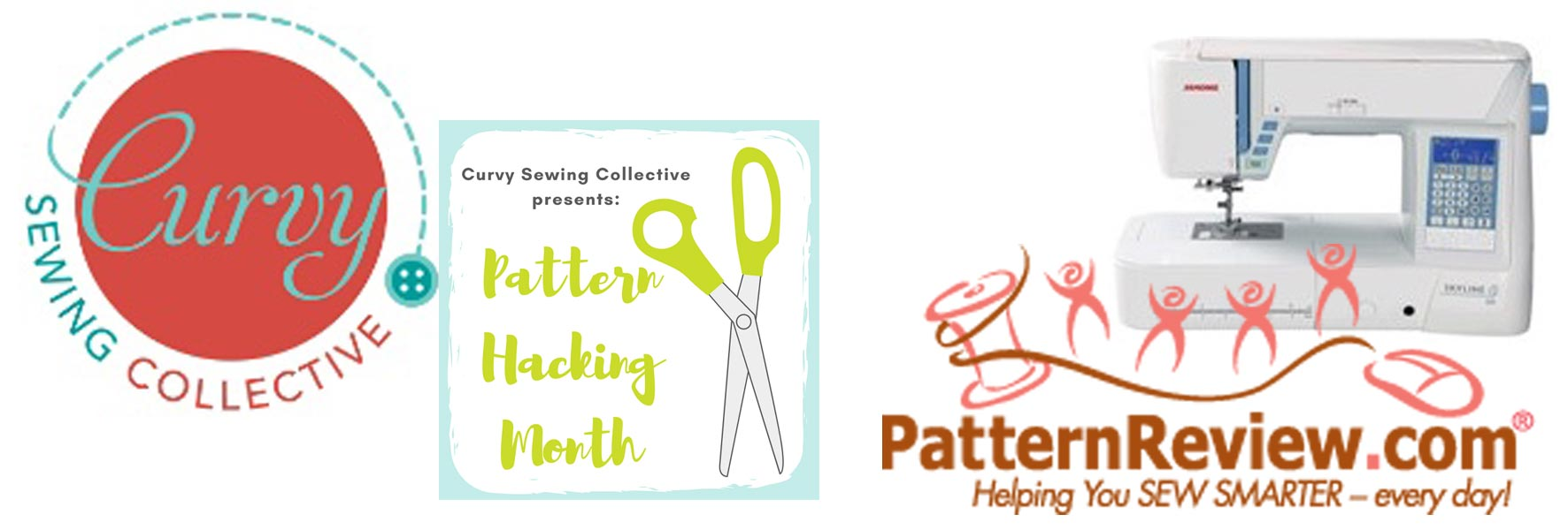 collage of logos and images from Curvy Sewing Collesctive and Sewing Pattern Review